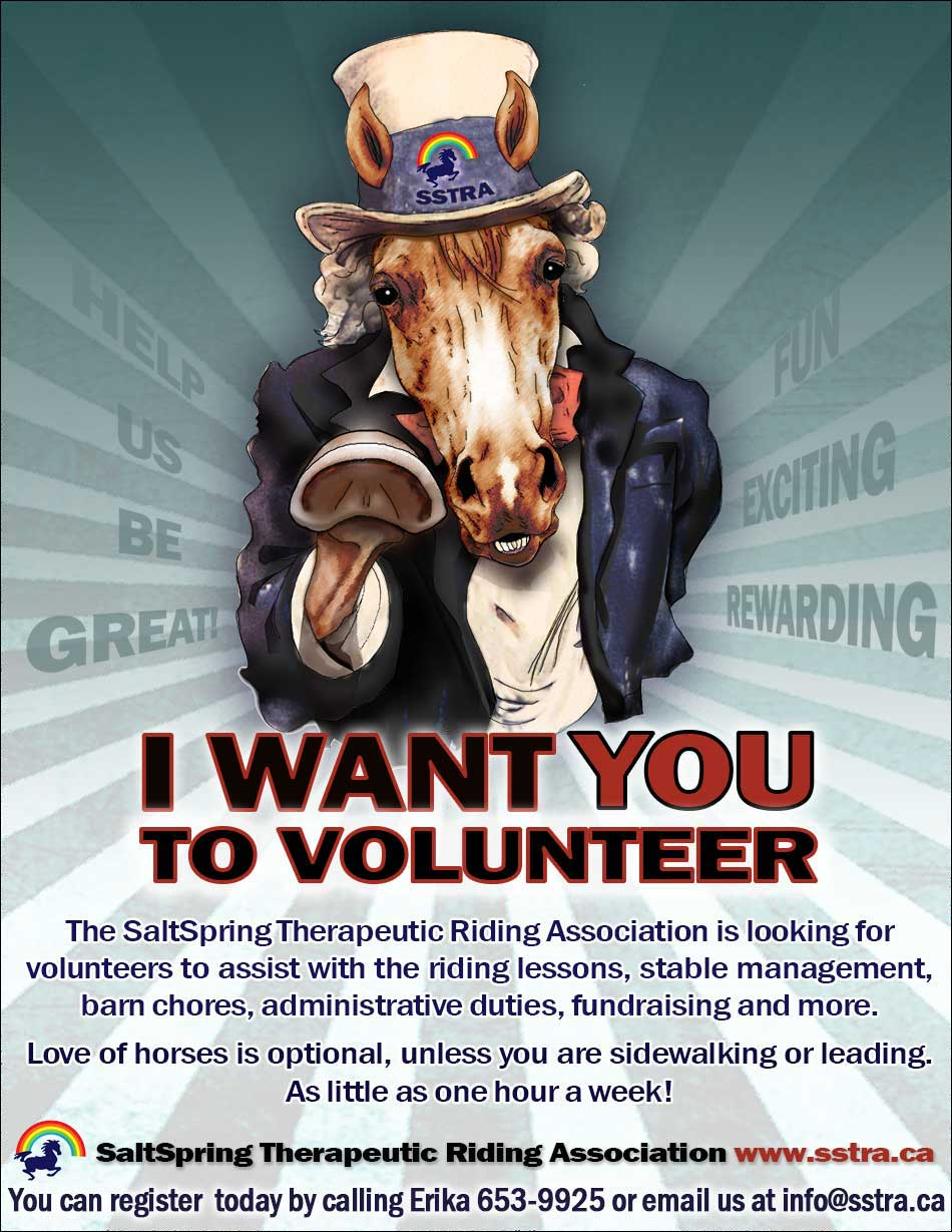 We want you to volunteer at the Salt Spring Therapeutic Riding Association